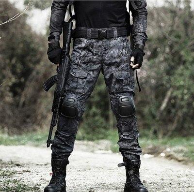 Pantalones tácticos, pantalones de carga para hombre, almohadilla militar a la rodilla, Ejército SWAT, Airsoft, ropa de camuflaje, pantalones de combate de campo cazador, bosque