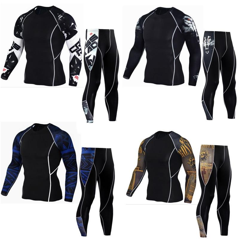 Men's thermal underwear set MMA rashgard Kit tactics leggings 3D Wolf Head fitness Men's compression set clothing Brands Men
