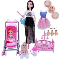2020 fashion 11 530cm barbies doll furniture for pregnant womendressbaby strollercrib accessories children girls toys gifts