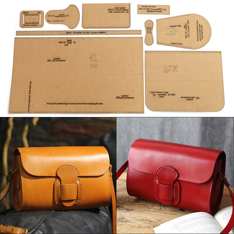 1Set DIY Kraft Paper Template New Fashion Upscale Shoulder Bag Crossbody Bag Leather Craft Pattern DIY Stencil Sewing Pattern
