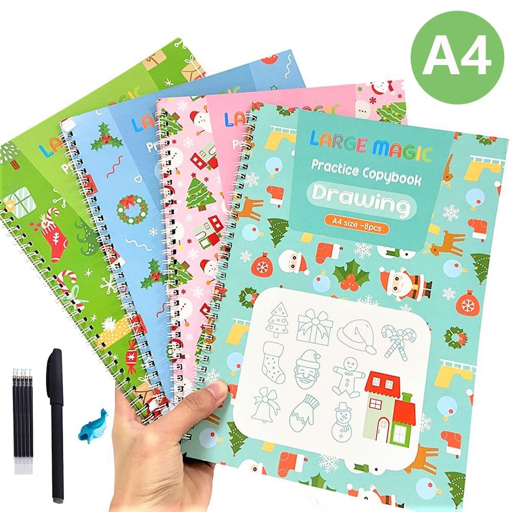 4 рождественских книги/Набор детских волшебных книг A4, многоразовые копировальные книги для 3d-каллиграфии, английские цифры, копилки для ма...