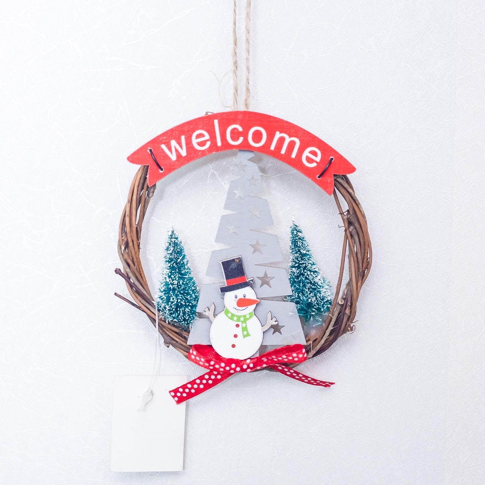 Enfeites de decoração de natal, enfeites de decoração de 10x10cm para árvore de natal, pingente de boneco de neve, porta suspensa e suprimentos para festas
