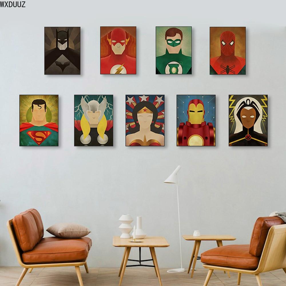 Nórdico Vintage Super Marvel héroes película Superman Batman película póster lienzo pintura sala de estar pintura decorativa pared arte
