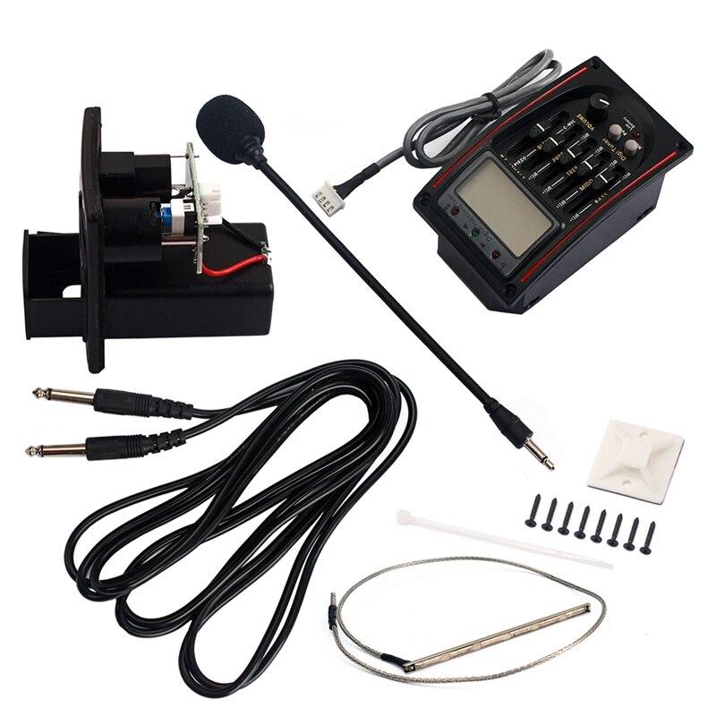 ECUALIZADOR EQ de 5 bandas pastilla para preamplificador sintonizador LCD con juego de micrófono LC-51 para piezas de repuesto de guitarra acústica/clásica