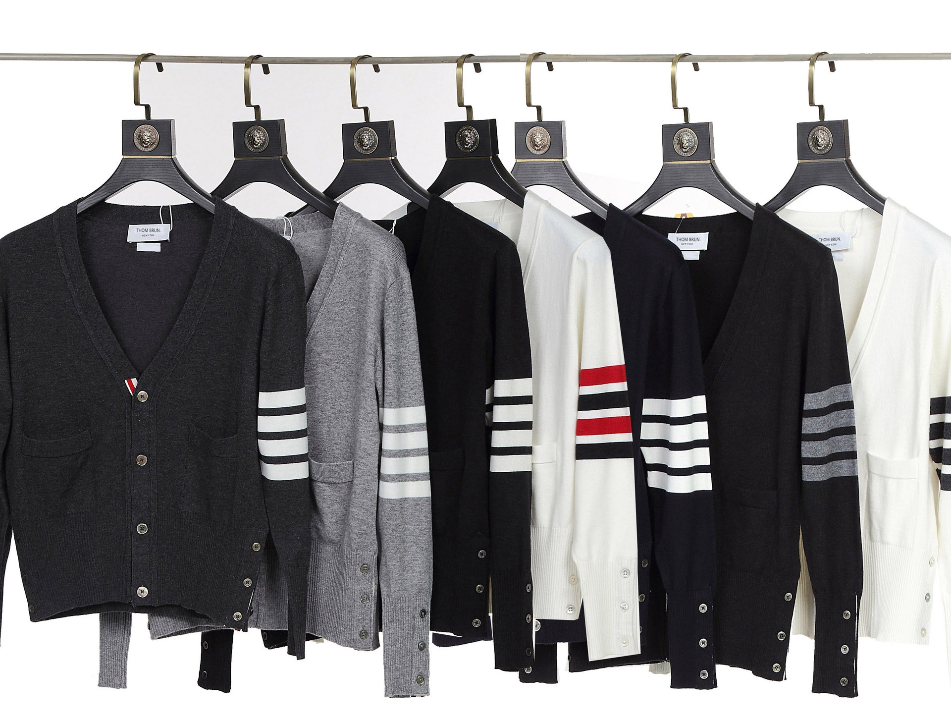 2021 new TB cardigan sweater four bars Korean wool trim coat men and women with the same bottom sweater