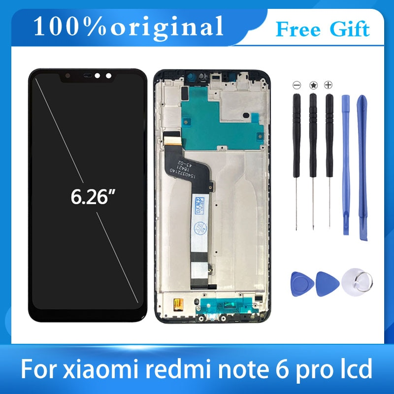 100% Tested LCD Display Touch Screen For Xiaomi Redmi Note 6 Pro Digitizer Frame Assembly For Redmi Note6 LCD 2280*1080 6.26inch недорого