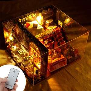 DIY Doll House Kit Christmas With LED Light DIY Miniature 3D Wooden Miniatures Music Dollhouse Toys for Children Birthday Gift