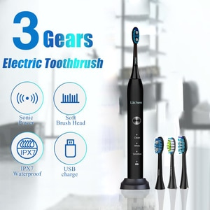 Lachen RM-T5B Electric Toothbrush Sonic Toothbrush with 4 brush heads and timer 3 modes USB charging 60 days battery life IPX7