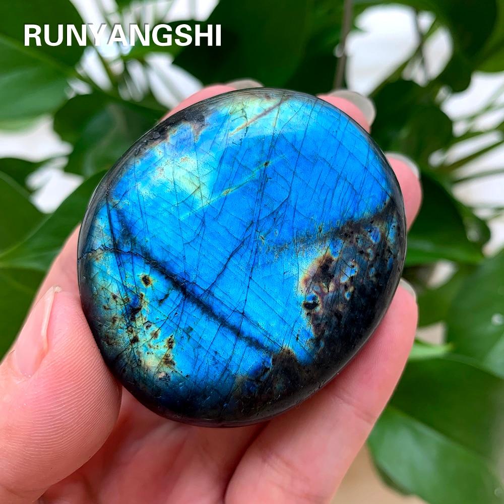 Runyangshi 1 Uds. Natural colorido labrador feldspar cristal Original piedra lunar elongada ornamento piedra lunar azul y amarillo