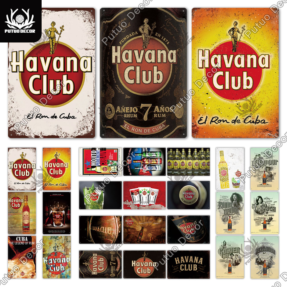 AliExpress - Putuo Decor Havana Club Rum Vintage Metal Tin Signs Retro Plaque for Bar Pub Club Man Cave Wall Decor