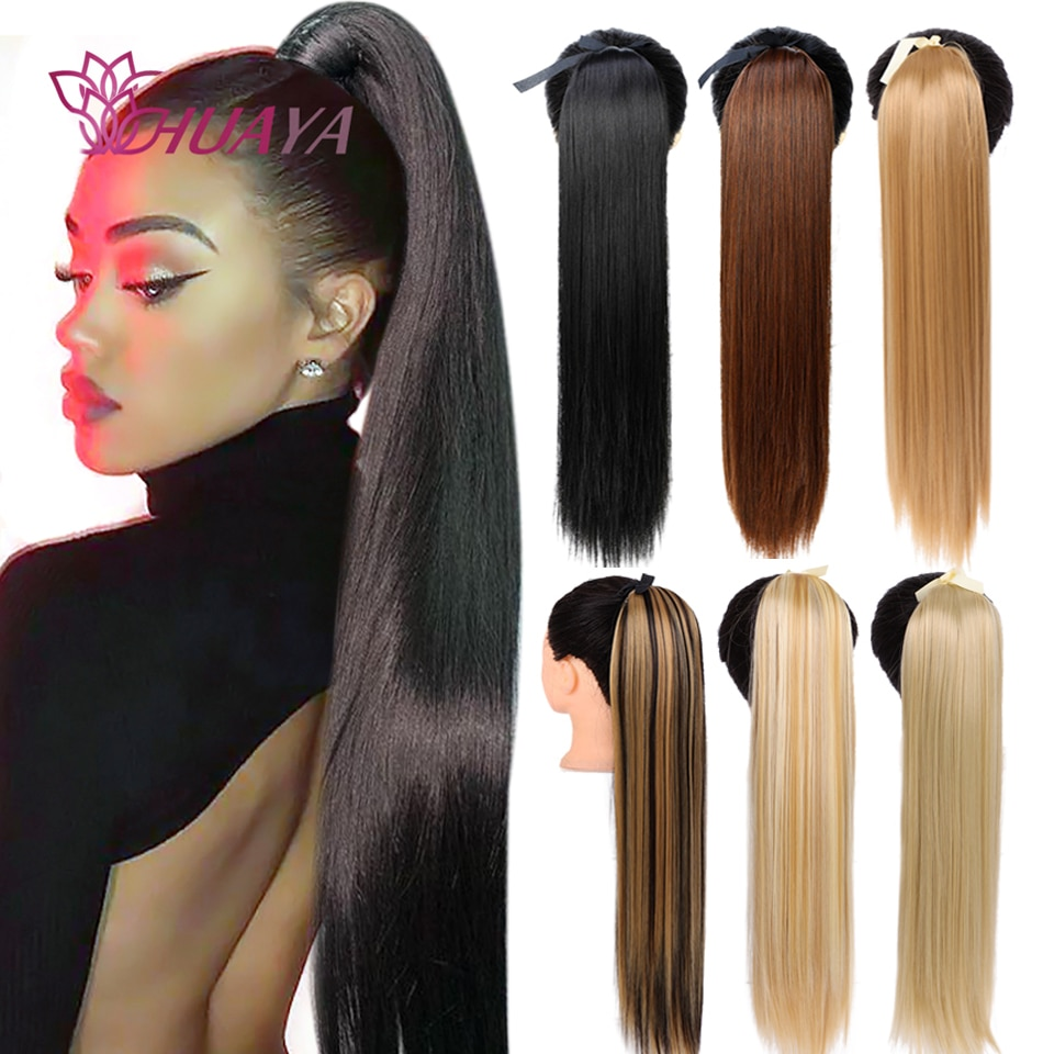 HUAYA Long Straight Ponytail Hair Clip in hair Extensions Synthetic Drawstring Pony Tail Hairpiece For Black Women Heat Resista