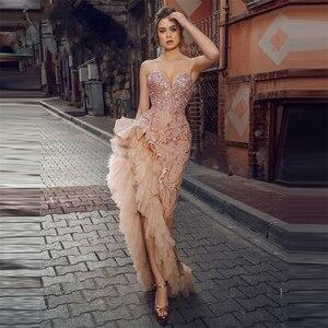 Abendkleider Sexy High Split Long Evening Dresses Saudi Arabia Sequin Party Gowns Ruffles Tulle Formal Prom Dress Robe De Soiree