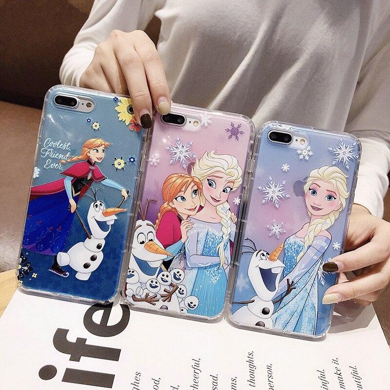 Linda funda de teléfono de dibujos animados Anna Princess girl Olaf snowflake para iPhone 7 8 6 6s 11 pro X XSM XS XR funda transparente suave TPU en relieve