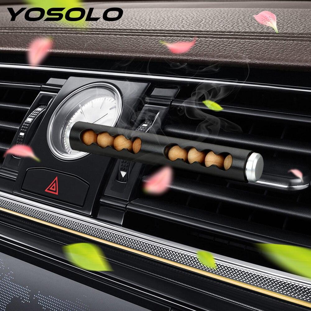 YOSOLO ambientador Clip para salida de aire de coche Perfume Car-styling cuentas de madera aromaterapia decoraciones interiores automotrices accesorios de coche