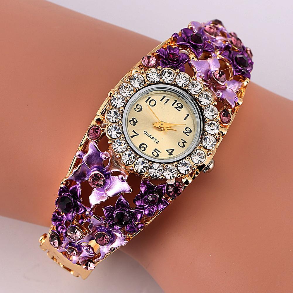 Women Watch Alloy Crystal Bracelet Flower Wrist Clock Quartz Watches With Rhinestone