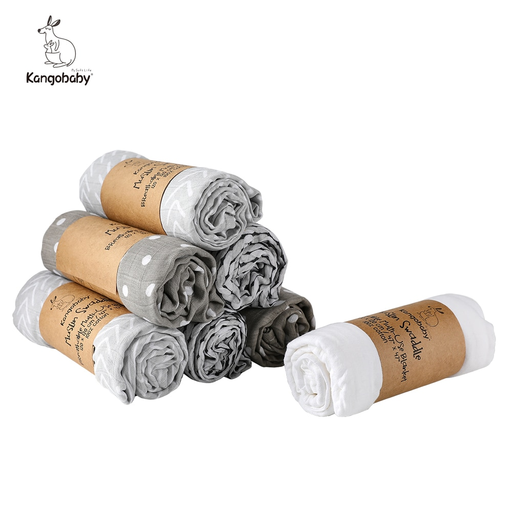 Kangobaby Cotton Muslin Swaddle Photography Background Stroller Cover Baby Infant Newborn Gift Cloth Diaper Wrap
