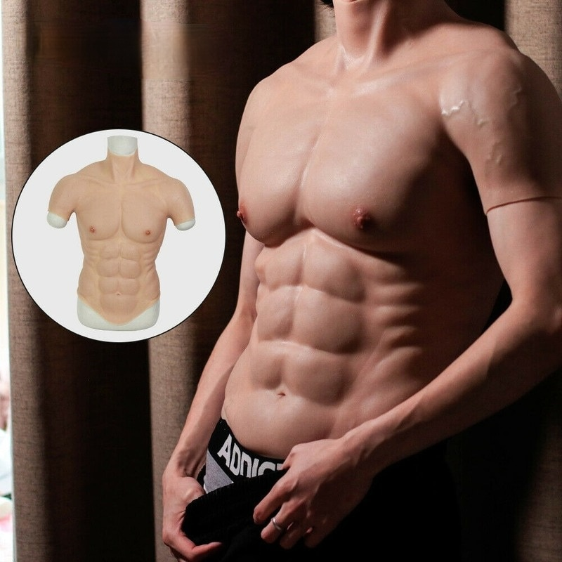 Silicone Muscle Chest Sexy Realistic Men's Vest Abdominal Muscle Enhancement Role Playing Suit Boxing Training Men's Fake Chest