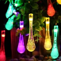 led solar light string outdoor waterproof water drop fairy lights decoration for christmas garden party lighting