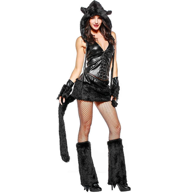 Gato preto mulheres sexy falso pele animal tema festa traje halloween adulto festa cosplay roupas pvc sexo masquerade desempenho