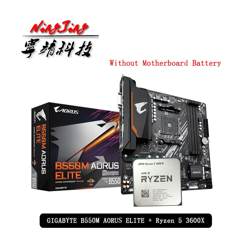 Amd ryzen 5 3600x r5 3600x cpu + ga b550m aorus elite placa-mãe soquete terno am4 tudo novo mas sem refrigerador