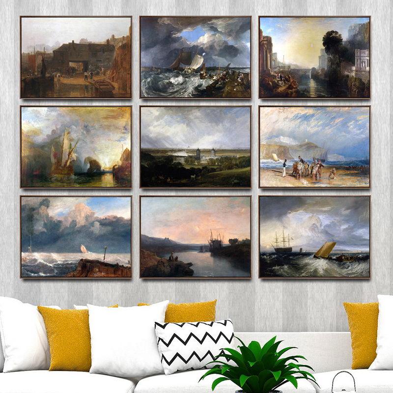 Cuadros artísticos de pared para decoración del hogar, póster para el salón, lienzo impreso, pinturas, Joseph Mallord William Turner Water Ferry