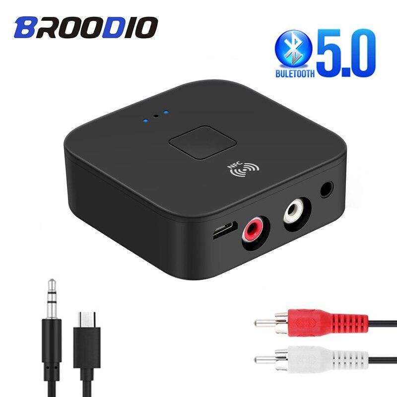 Bluetooth 5,0 receptor de Audio 3,5mm AUX Jack música estéreo adaptador inalámbrico con micrófono NFC para el altavoz del coche RCA Bluetooth transmisor