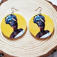 african earrings wooden round ethnic dangle earrings retro portrait for women aretes femme mujer party fashion jewelry gift