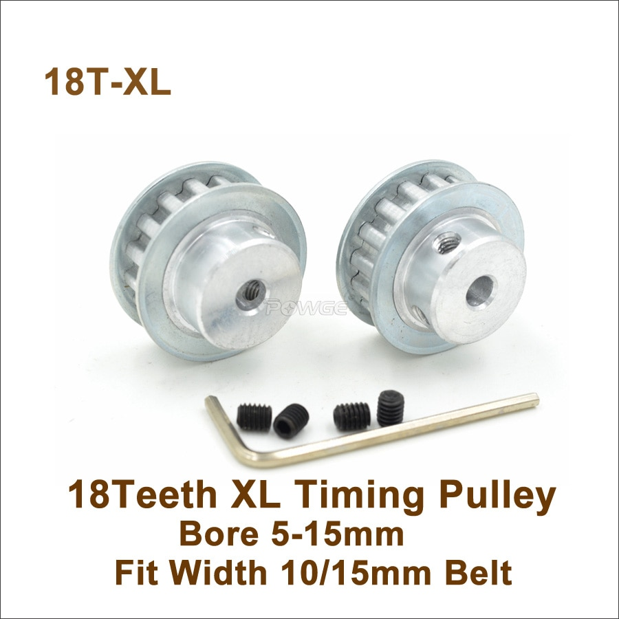 POWGE 18 Teeth XL Synchronous Pulley Bore 5-15mm Fit W=10/15mm XL Timing Belt 18T 18Teeth XL Pulley Machine Accessories 18-XL