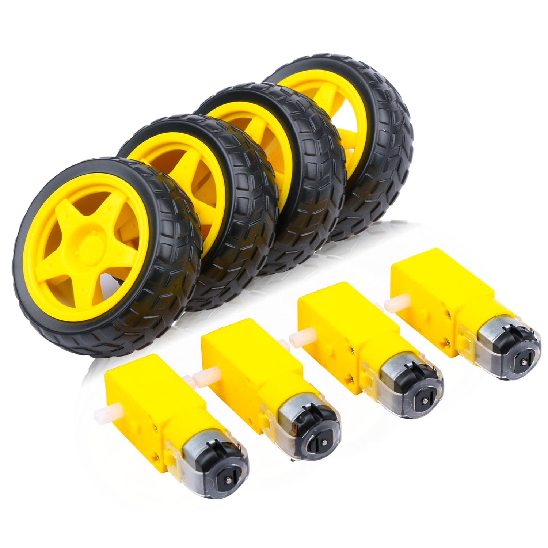 New 4PCS DC Motor Wheel Kit Electric TT Tyre Parts for Robot Smart Car Model Electronic Product DIY Gear motor