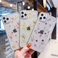 real dry flower glitter clear case for iphone 12 11 pro max transparent cases for iphone 12 pro xs max x xr 8 7 plus soft cover