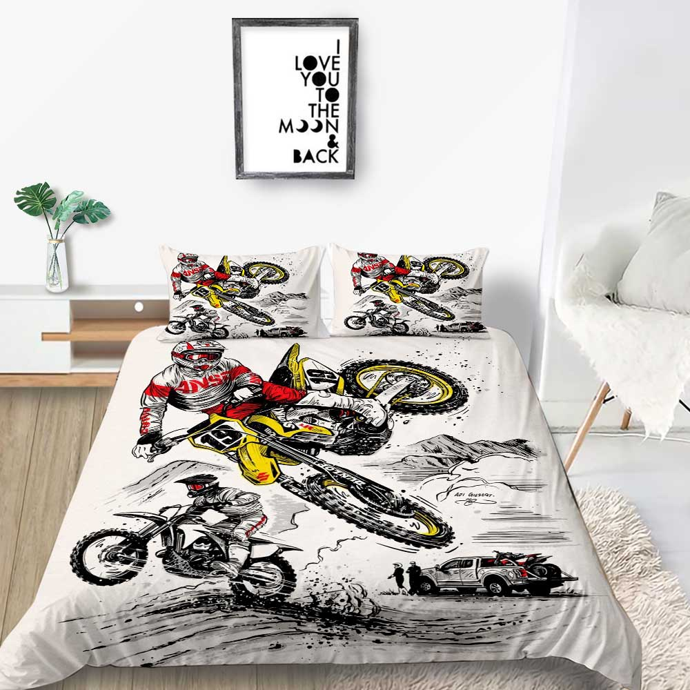 Motorcycle Bedding Set Queen Size Fashionable Artistic Duvet Cover For Boy King Single Twin Full Double Comfortable Bed Set