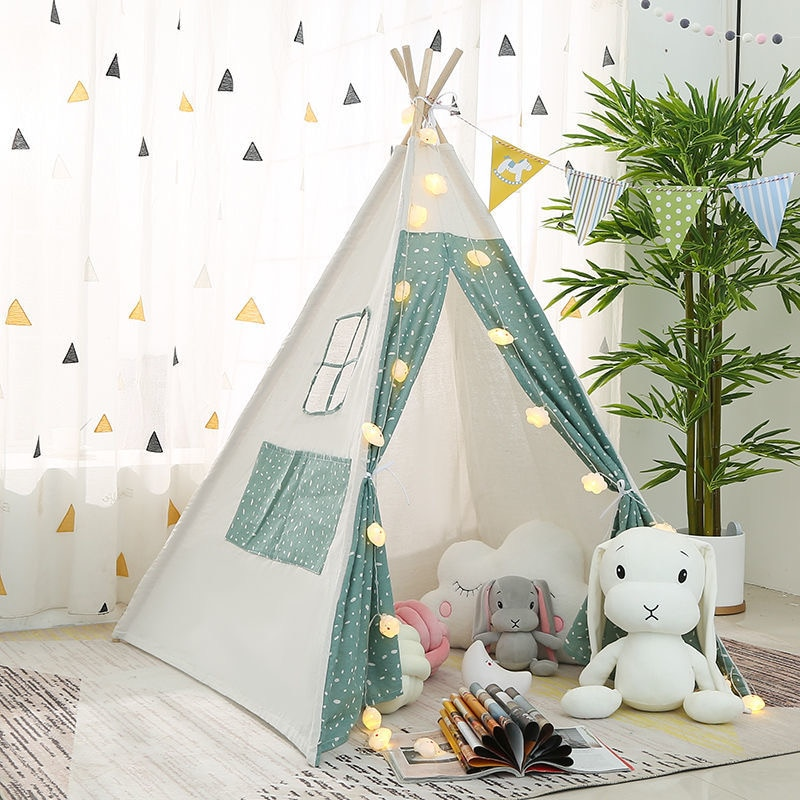 Children's Tent Playhouse For Kids Tipi House For Baby Wigwam Game House India Triangle Tent Princess Castle Birthday Gifts недорого