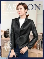 womens spring and autumn new tailored collar pu slim fit fashionable korean all match casual bikers leather jacket coat