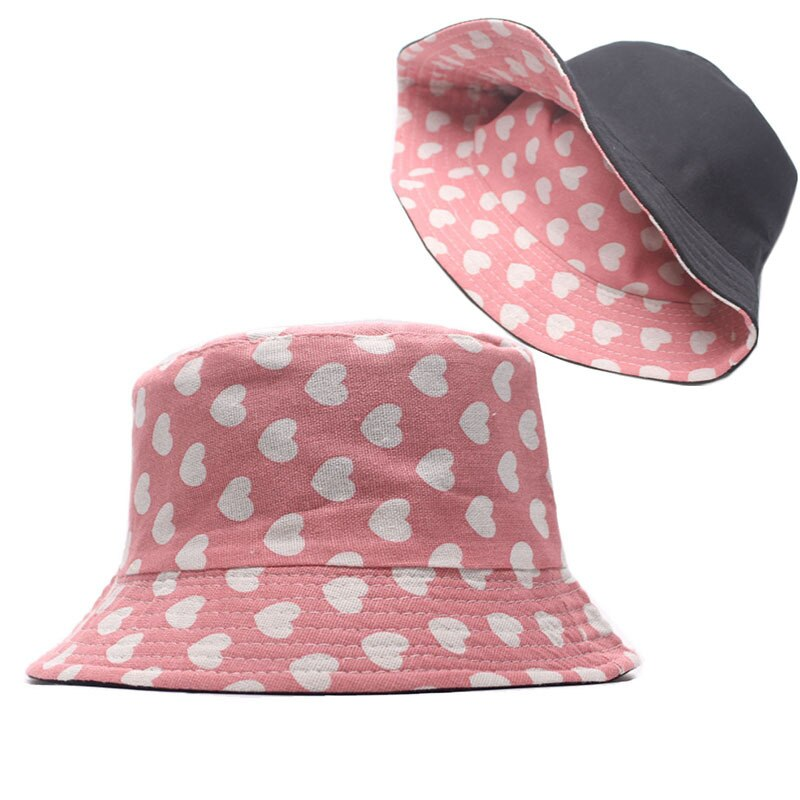 The New Style Cotton Pink Love Print Bucket Hat Fisherman Hat Outdoor Travel Hat Sun Cap Hats For Men And Women
