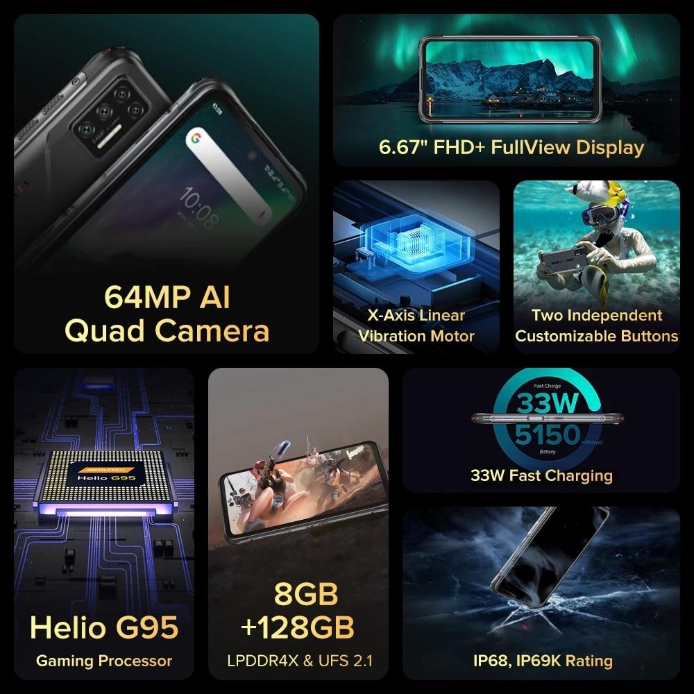 UMIDIGI BISON GT Android 10 Mobile Phone IP68/IP69K Waterproof Rugged Smartphone Octa Core Helio G95 6.67