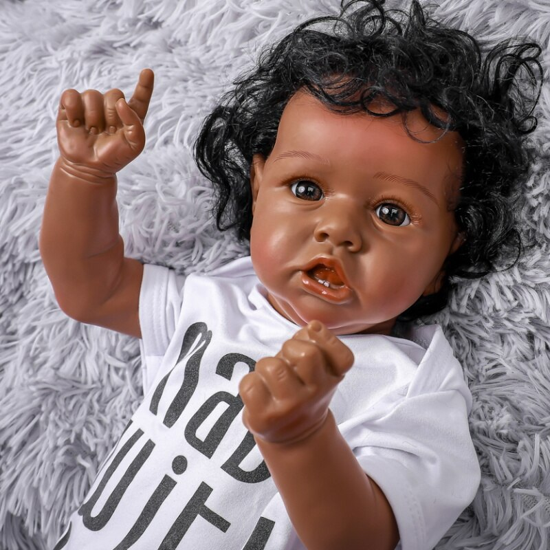 20Inch Cute Crooked Mouth Black Baby Full Silicone Reborn Baby Brown Eye With Teeth Lifelike Doll Soft Real Water Proof Bath Toy