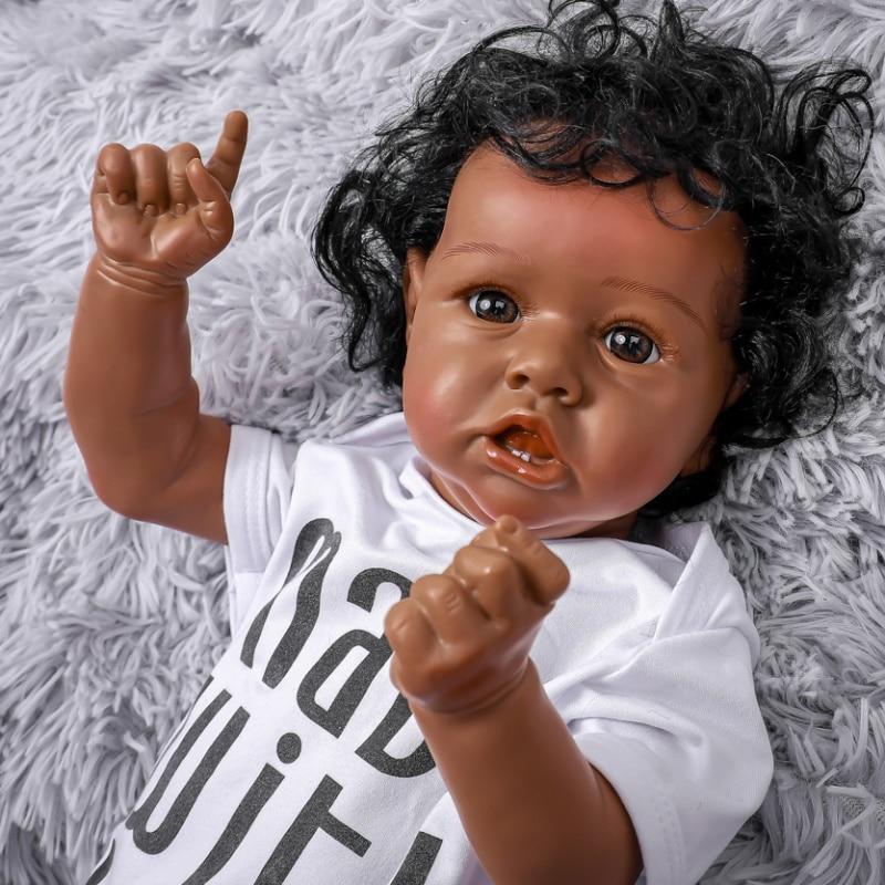 فم ملتوي أسود للأطفال مقاس 20 بوصة ، سيليكون كامل ، عين بنية ، مع أسنان ، دمية نابضة بالحياة ، لعبة حمام حقيقية مقاومة للماء