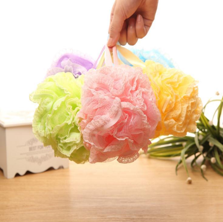 100pcs/lot Thicken Bath Cleansing Lace Bathing Ball Massage Puff Sponge Shower Mesh Net Scrub Skin Bathing Products Wholesale