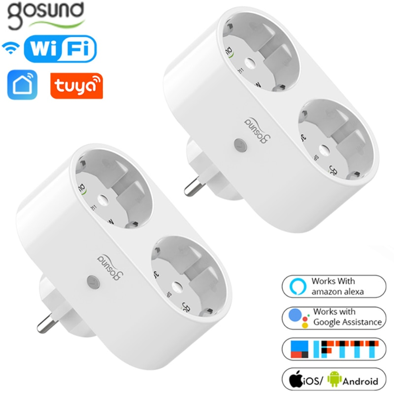 16A EU Gosund WiFi Smart Plug 2 In 1 Outlet Tuya / Smart Life App Remote Control Home Appliances Works With Alexa Google Home