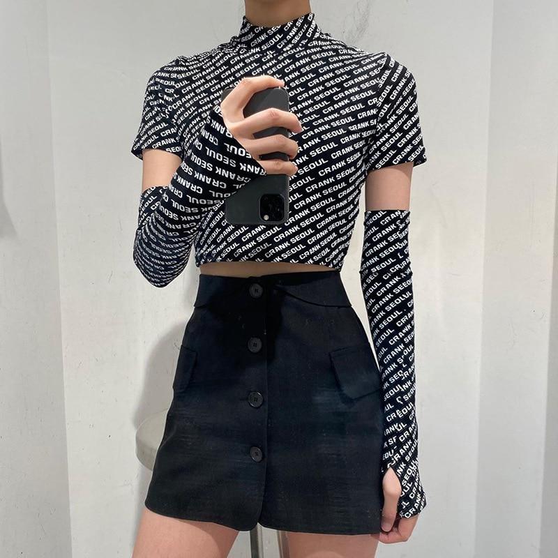 Paris Girl Fashion Crop Top Women Short Sleeve Letter O-Collar Plus Set of Thumb Cuffs Summer