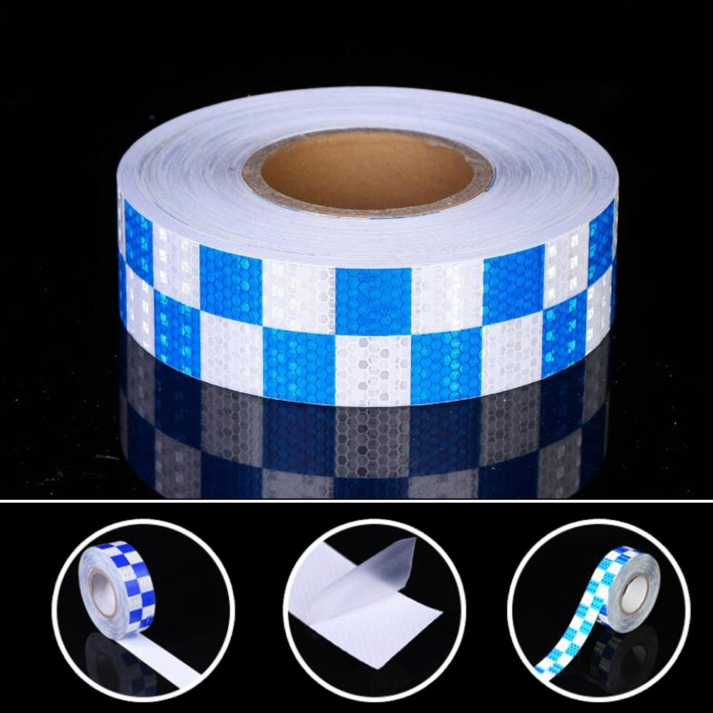 8 pcs set reflective opening sticker access control warning safety car shape car sticker car decoration night light strip 5cmx25m/Roll Warning Tape Strip Stickers Warning Light Reflector Protective Sticker Reflective Film Car Safety Mark