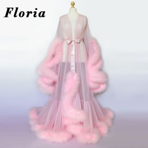 Custom Formal Evening Dresses Dubai Arabic Long Women V Neck Full Sleeves Feathers Pink Prom Dresses 2020 New Dress Party Gowns