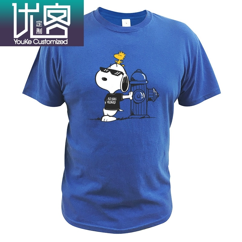 Camiseta de rapero Cool No Dogs permitido americano cacahuetes Anime personaje Woodstock Camiseta de algodón tamaño europeo