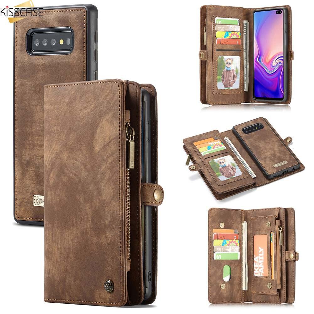 Funda KISSCASE de cuero con tapa para Samsung A70 A40 A50, funda tipo billetera para Samsung Galaxy S10 E S9 S8 Plus S7 Edge Note 9 10 Plus