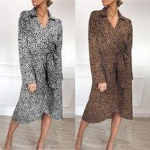 Распродажа, женское осеннее платье с длинным рукавом и леопардовым принтом, v-образный вырез, высокая талия, пояс, шифоновое платье, женское ...