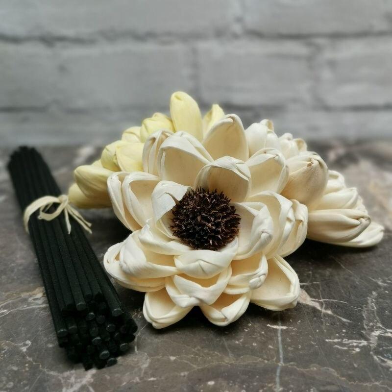 """40 Uds 3,2 """"flor sola de madera con 6,5"""" palitos de ratán de fibra negra difusor de lámina Flor de reemplazo hecha a mano decoración del hogar LOTUS"""