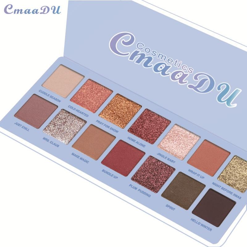 CmaaDu 14 Colors Matte Eye Shadow Palette Soft Shimmer Metallic Smoky Eyeshadow Naked Glitter Nude Shining Make Up Palette TSLM2