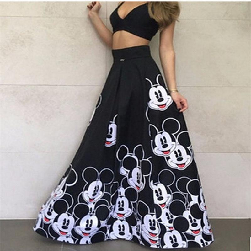 Falda larga de talla grande a rayas para mujer, falda elástica largo de cintura alta, ropa elegante para mujer, faldas de dibujos animados, ropa femenina