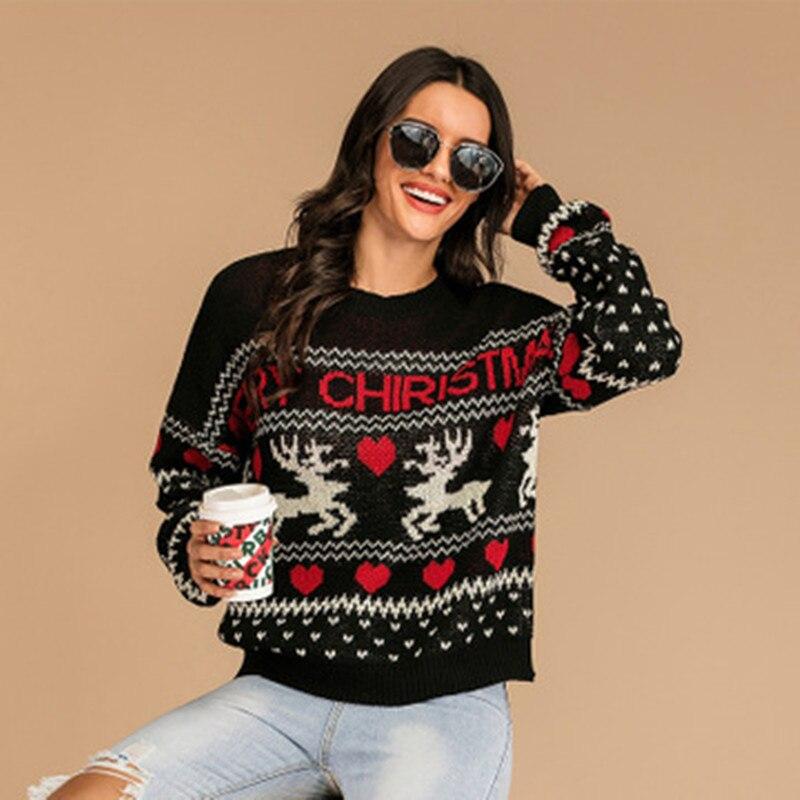 Ladies Autumn/Winter Christmas Sweater Ladies Long Sleeve Knit Pullover Retro Snowflake Elk Print Sweater Warm Houndstooth elk snowflake geometric print christmas hoodie