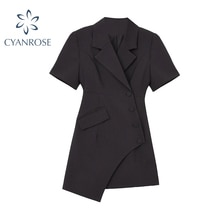 Irregular Design Black Suit Dress For Women 2021 Summer Fashion Sexy V Neck Short Sleeve  Office Sty